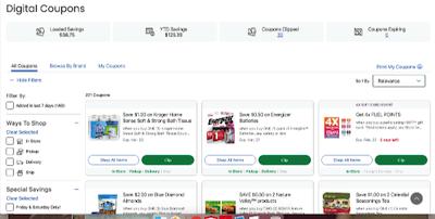 Screenshot Digital COupons