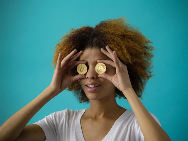 Lady with bitcoins